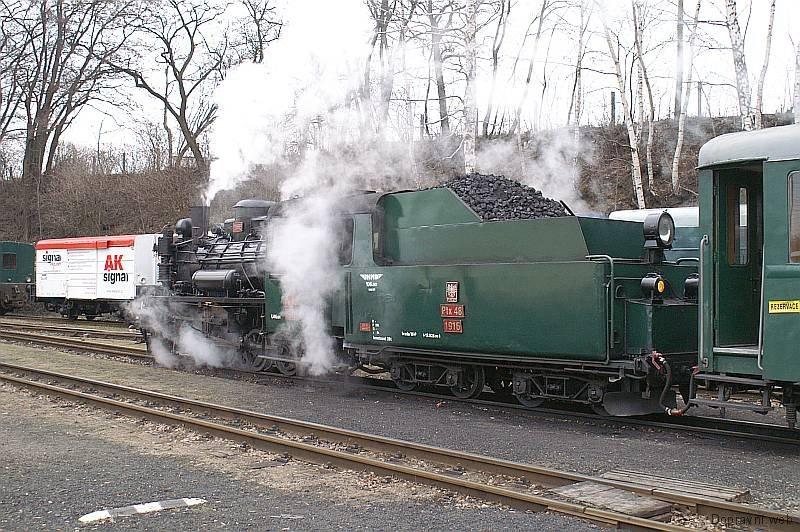 Vánoční parní vlak v čele s Péixou.