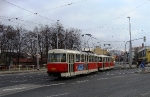 105-prague-tram-on-crossing-strelnicna-near-stop-and-metro-station-kobylisy-15-12-2009