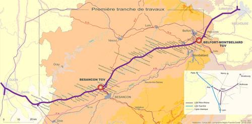 LGV Rhin-Rhone mapa