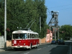 Historický trolejbus Škoda 9 Tr u dolu Michal