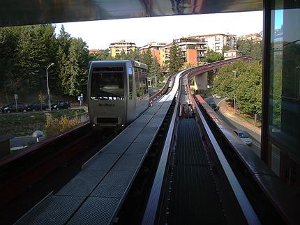 Pohled z kabinky na trať, foto: Martin Předota