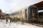Již odpojený jídelní vůz Hungarie při zásahu hasičů zachytil Petr Kocman
