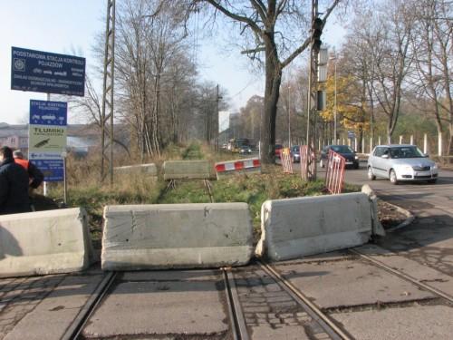 Zátarasy na tramvajové trati do Gliwic 6.11.2009