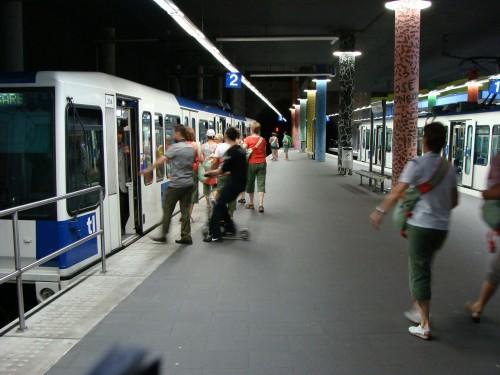 Lausanne - přestupní a konečná stanice metra 1 Lausanne-Flon dne 15.7.2011