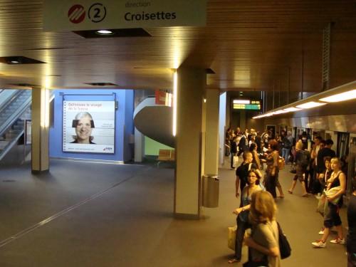 Lausanne - Přestupní stanice metra 2 Lausanne-Flon dne 15.7.2011