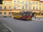 Trolejbus 14Tr č. 38 právě přijel na konečnou u Hlavního nádraží