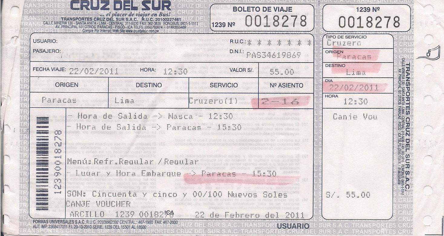 Jízdenka na linkový autobus z Paracasu do Limy 22. 2. 2011