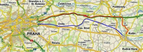 Trasa Kolín - Praha Modrá čára - železniční linka Červená čára - autobusová páteřní linka