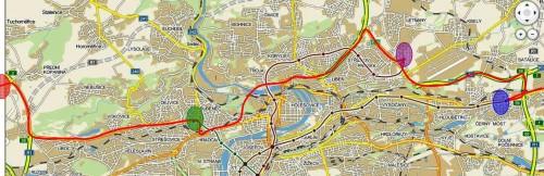 Praha Modrá oblast - Přestupní uzel Černý Most (metro B) Fialová oblast - Přestupní uzel Letňany (metro C) Zelená oblast - Přestupní uzel Dejvická (metro A) Červená oblast - Přestupní uzel Letiště Ruzyně (letadla)