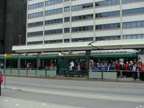Tramvaj linky č. 9 na zastávce Messukeskus (Výstaviště).