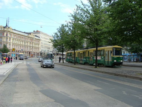 Tramvaje linek č.3 a 6T na ulici Mannerheimintie.