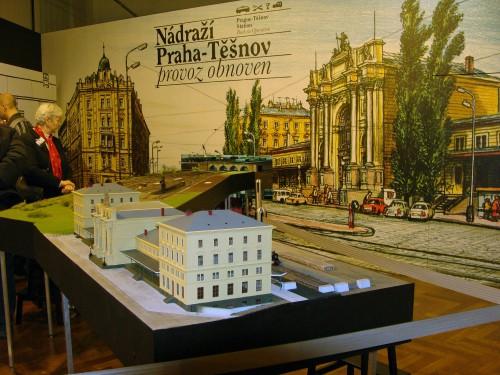 Celkový pohled na model nádraží Praha Těšnov a kolejiště
