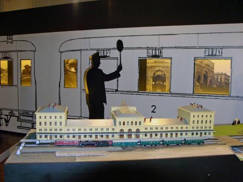 Pohled na model nádraží Praha Těšnov zezadu