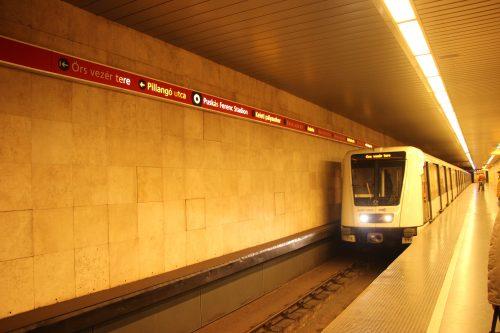 Stanice budapeštského metra linky M2 Puskás Ferenc Stadion 2.12.2018.